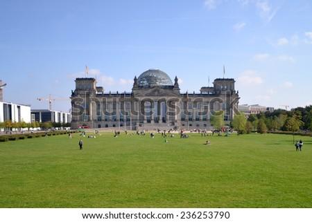 BERLIN, GERMANY - SEPTEMBER 14: Berlin Reichstag Building on SEPTEMBER 14, 2013, Berlin - stock photo