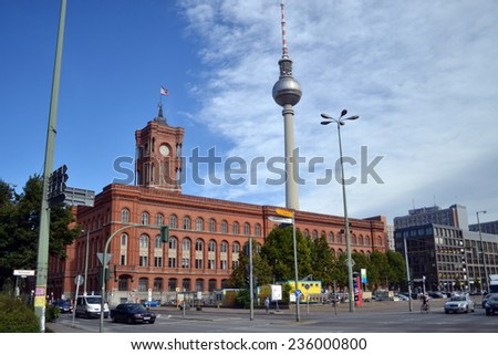 BERLIN, GERMANY - SEPTEMBER 14: Berliner Rathaus Berlin on SEPTEMBER 14, 2013, Berlin,