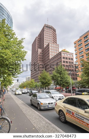 BERLIN, GERMANY - SEPTEMBER 21: Major buildings at Potsdamer Strasse, Berlin on September 21, 2015. Potsdam Strasse is an important public street and traffic intersection in the centre of Berlin.