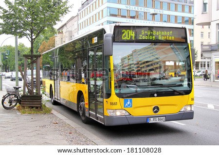 BERLIN, GERMANY - SEPTEMBER 10, 2013: Mercedes-Benz O530 Citaro city bus at the city street.