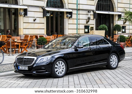 BERLIN, GERMANY - SEPTEMBER 12, 2013: Motor car Mercedes-Benz W222 S-class at the city street. - stock photo