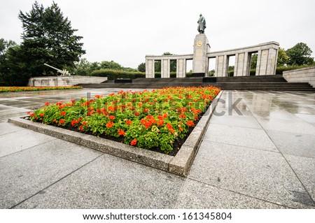 BERLIN, GERMANY - SEPTEMBER 20: Soviet War Memorial in Berlin Tiergarten on September 20, 2013 in Berlin, Germany. - stock photo