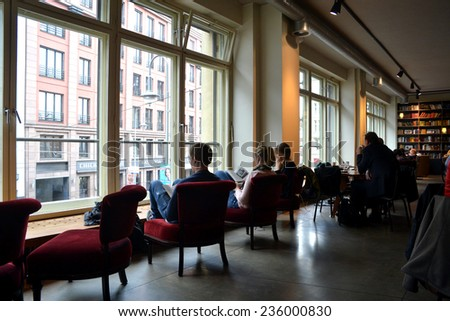 BERLIN, GERMANY - SEPTEMBER 14:Starbucks Coffee in  Berlin on SEPTEMBER 14, 2013, Berlin,  - stock photo