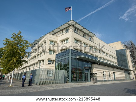 BERLIN, GERMANY - SEPTEMBER 6: the US American Embassy in Berlin Mitte, Germany, Europe sept 06 2014 - stock photo