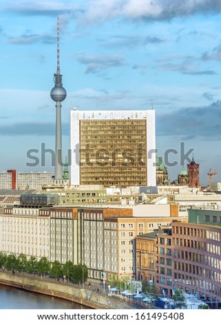 Berlin, Germany, view from Reichstag dome  - stock photo