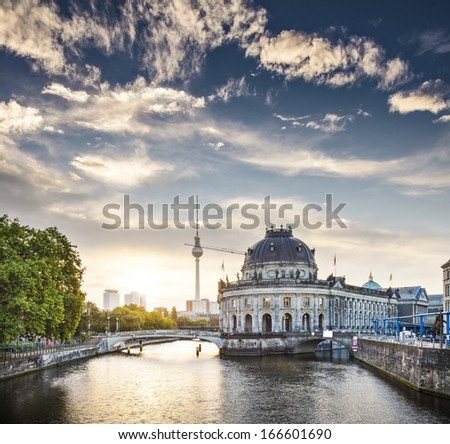 Berlin, Germany view of Museum Island and Television Tower just after sunrise. - stock photo