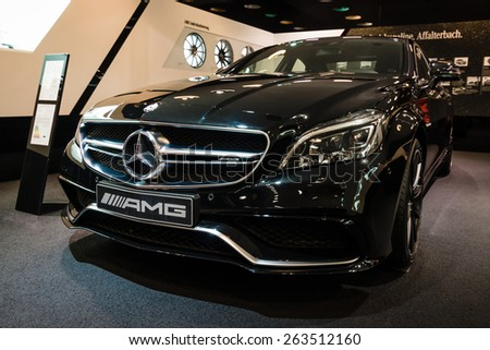 BERLIN - JANUARY 24, 2015: Showroom. Mid-size luxury car Mercedes-Benz CLS 63 AMG. Produced since 2013.