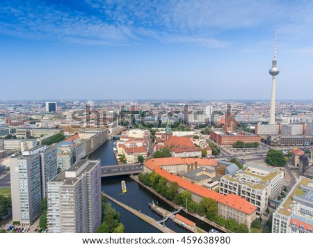 BERLIN - JULY 24, 2016: Aaerial view of Central City. Berlin attracts 30 million people annually.