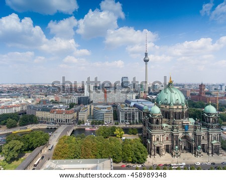 BERLIN - JULY 24, 2016: Aerial view of Central City. Berlin attracts 30 million people annually. - stock photo
