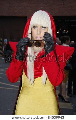 BERLIN - JULY 18: Lady Gaga attends the Mercedes Benz Fashion week Spring/Summer 2009 ready-to-wear fashion show of Michalsky on July 18, 2008 in Berlin, Germany. - stock photo