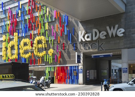 BERLIN - JULY 29, 2014: Neon exterior of the famous shopping mall KaDeWe at the Kurfuerstendamm in Berlin - stock photo