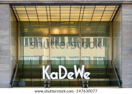 BERLIN - JULY 24: The Kaufhaus des Westens (KaDeWe), it is the second-largest department store in Europe. It attracts 40,000 to 50,000 visitors every day. July 24, 2013, Berlin, Germany