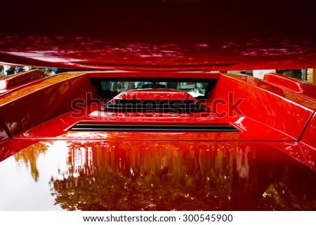 BERLIN - JUNE 14, 2015: Air intakes and vents luxury sports car Lamborghini Countach 5000 Quattrovalvole. The Classic Days on Kurfuerstendamm. - stock photo