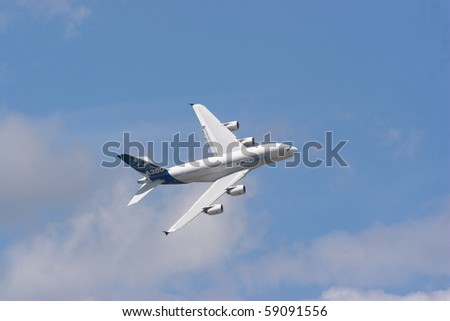 BERLIN - JUNE 11: Airbus A380 exhibition flight at ILA Berlin Air Show on June 11, 2010 in Berlin, Germany