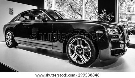 BERLIN - JUNE 14, 2015: Full-size luxury car Rolls-Royce Ghost (since 2010). Black and white. The Classic Days on Kurfuerstendamm. - stock photo