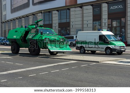 BERLIN - JUNE 19, 2013:  Police cordon near the Potsdamer Platz and Hotel Ritz-Carlton, because of his state visit to Germany by U.S. President Barack Obama