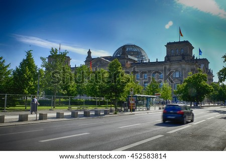 BERLIN - JUNE 2016: Reichstag View - Landscape The Parliament of the Federal Republic of Germany on June 11, 2016. Berlin Germany.