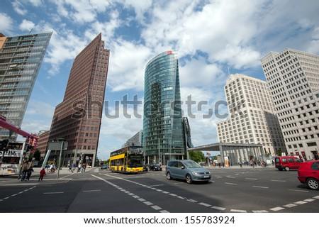 BERLIN - JUNE 3: Traffic in Potsdamer Platz station on 3 June 2013 in Berlin, Germany. The Potsdamer Platz is the new modern city center of Berlin. - stock photo