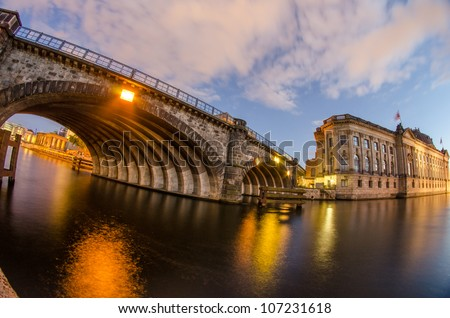 Berlin Landmarks and Buildings after sunset with river spree and deep blue sky, Germany - stock photo