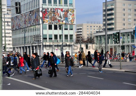 BERLIN MARCH 6: Building in east of Berlin (Berlin was divided into EAST and WEST parts from 1961 to 1989) on March 6, 2015. - stock photo