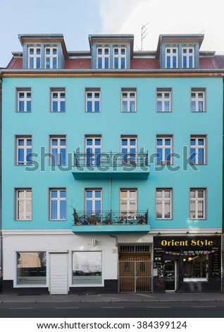 BERLIN, 01 MARCH: Green building on the Bruckenstrasse in Berlin Mitte on 01 March 2016.