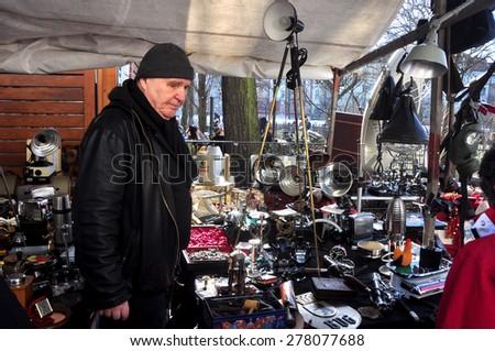 BERLIN â?? March 1st: BOXAGENGER PLATZ  (flea market) on March 1 2015 in Berlin, Germany. - stock photo