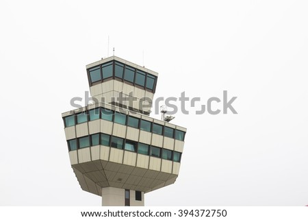 BERLIN, 18 MARCH: The Berlin Airport Tegel control tower in Berlin on March 18, 2016.