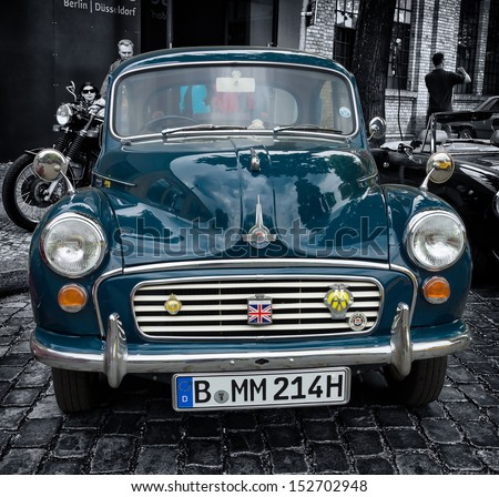 BERLIN - MAY 11: British economy car Morris Minor 1000, 26th Oldtimer-Tage Berlin-Brandenburg, May 11, 2013 Berlin, Germany - stock photo