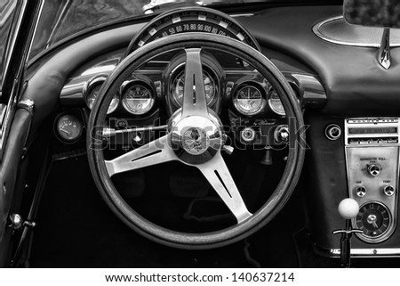 BERLIN - MAY 11: Cab sports car Chevrolet Corvette Convertible (1958), black and white, 26th Oldtimer-Tage Berlin-Brandenburg, May 11, 2013 Berlin, Germany - stock photo
