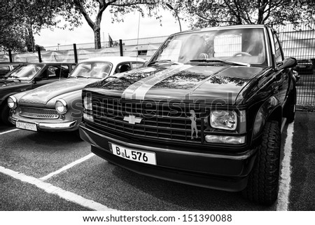 BERLIN - MAY 11: Car Chevrolet Silverado C2500 Pickup (black and white), 26th Oldtimer-Tage Berlin-Brandenburg, May 11, 2013 Berlin, Germany - stock photo