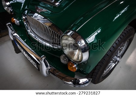 BERLIN - MAY 10, 2015: Detail of the roadster Austin-Healey 3000 Mk 3. The 28th Berlin-Brandenburg Oldtimer Day