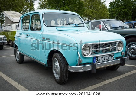 BERLIN - MAY 10, 2015: Economy car Renault 4. The 28th Berlin-Brandenburg Oldtimer Day - stock photo