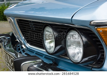 BERLIN - MAY 10, 2015: Fragment of a full-size luxury car BMW New Six (E3), 1981. The 28th Berlin-Brandenburg Oldtimer Day - stock photo