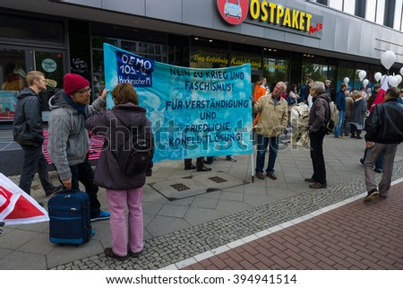 BERLIN - MAY 01, 2015: Members of trade unions and the workers hold a rally on the occasion of Labour Day.