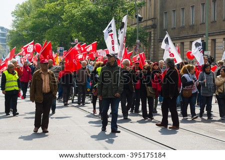 BERLIN - MAY 01, 2015: Members of trade unions, workers and employees at the demonstration on the occasion of Labour day