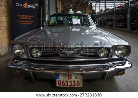 BERLIN - MAY 10, 2015: Pony car Ford Mustang (first generation). 28th Berlin-Brandenburg Oldtimer Day - stock photo