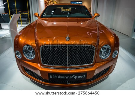 BERLIN - MAY 02, 2015: Showroom. Full-size luxury car Bentley Mulsanne Speed. Produced since 2014. - stock photo