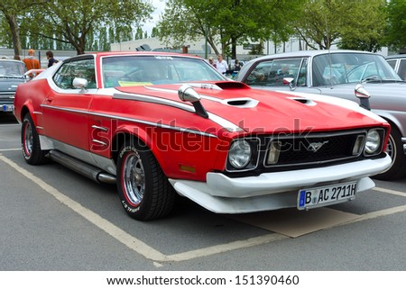 BERLIN - MAY 11: Sport Car Ford Mustang Mach I, front view, 26. Oldtimer-Tage Berlin-Brandenburg, May 11, 2013 Berlin, Germany - stock photo