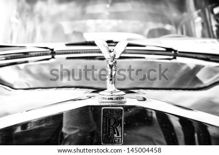 BERLIN - MAY 11: The emblem of Rolls-Royce, Spirit of Ecstasy (Black and White), 26th Oldtimer-Tage Berlin-Brandenburg, May 11, 2013 Berlin, Germany - stock photo