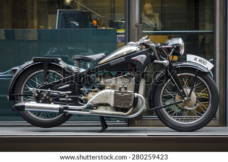 BERLIN - MAY 10, 2015: Vintage motorcycle Zuendapp K800, 1937. The 28th Berlin-Brandenburg Oldtimer Day