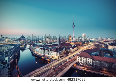 Berlin Mitte Skyline at evening, Berlin, Germany, Europe, Vintage filtered style