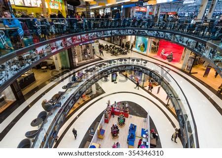 "BERLIN - NOVEMBER 30, 2015: The new shopping center ""Mall of Berlin"" at Potsdamer Platz. - stock photo"