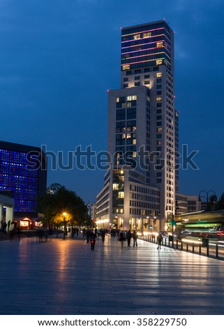 BERLIN - October 09, 2013: A luxury hotel Waldorf Astoria by Hilton (Zoofenster) in West Berlin. Architect Christoph Maeckler, 118,8 m, 32 floors, 242 rooms. Price ca. 200 Mio. euro.