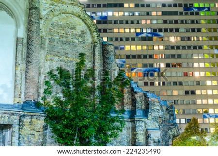 BERLIN - OCTOBER 07 2014. Anhalter Bahnhof ruins on October 07, 2014, Berlin, Germany. - stock photo