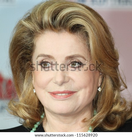 BERLIN - OCTOBER 01: Catherine Deneuve attends the 'Asterix & Obelix God Save Britannia' photocall at Hotel de Rome on October 1, 2012 in Berlin, Germany. - stock photo