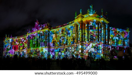 BERLIN - OCTOBER 08, 2016: Festival of lights. The building of the Law Faculty of the Humboldt University in festive illumination.