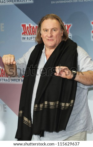 BERLIN - OCTOBER 01: Gerard Depardieu attends the 'Asterix & Obelix God Save Britannia' photocall at Hotel de Rome on October 1, 2012 in Berlin, Germany.