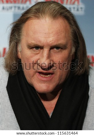 BERLIN - OCTOBER 01: Gerard Depardieu attends the 'Asterix & Obelix God Save Britannia' photocall at Hotel de Rome on October 1, 2012 in Berlin, Germany. - stock photo