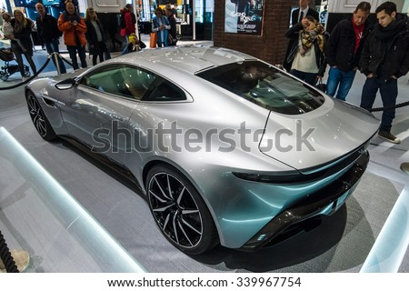 """BERLIN - OCTOBER 26, 2015: Grand tourer Aston Martin DB10. Rear view. The exhibition in the trading house KaDeWe as part of a promotional tour of the new film about James Bond """"Spectre"""" - stock photo"""
