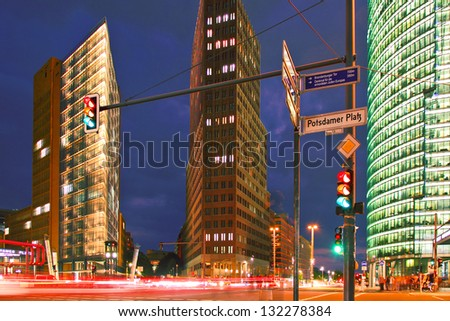 "Berlin - Potsdamer Place at Night - center of the ""New Berlin"" area in the eastern part of the city - stock photo"